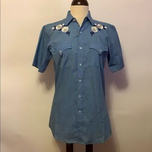 Vintage Blue Snap Western Shirt Embroidered